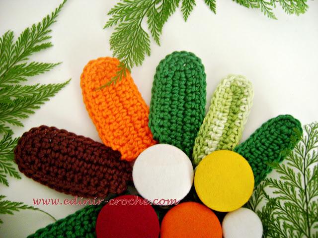 folhas em croche para enriquecer os frutos e flores com edinir-croche