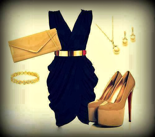 Black dress, golden handbag and golden high heel sandals