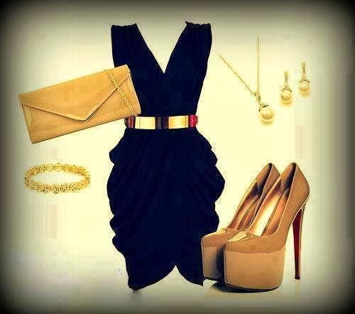 Black dress, golden handbag and golden high heel sandals