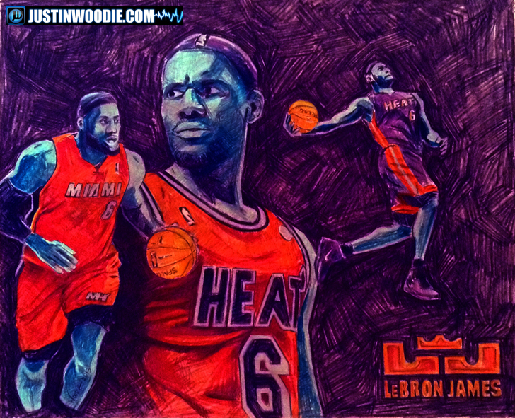 Lebron James Illustration By Justin Woodie - Justinwoodie.com