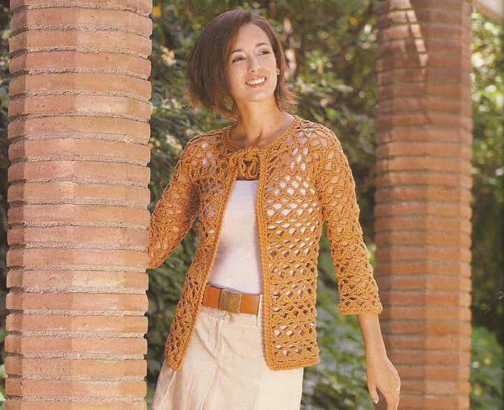Chaqueta Naranja a Crochet o Ganchillo