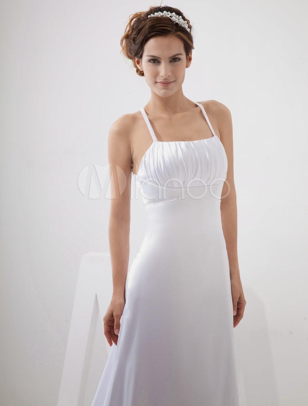 China Wholesale Dresses - A-line Spaghetti Empire Waist Beading Elastic Woven Satin Pongee Wedding Dress