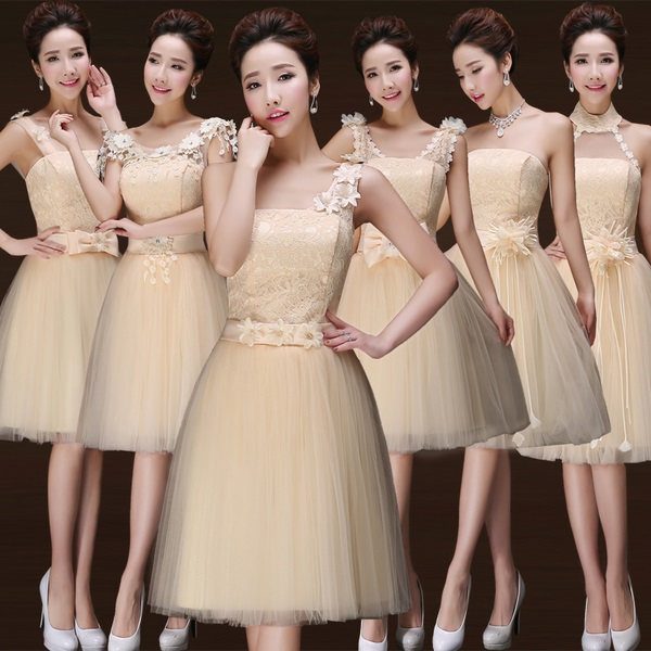 6-Design Flower Sash Floral Beige Bridesmaids Dress