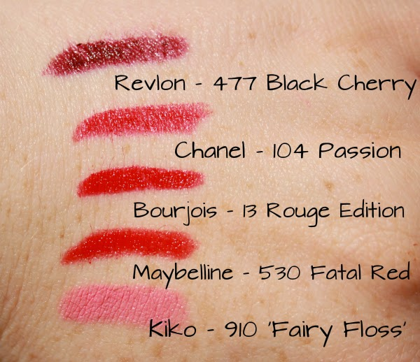 chanel lipstick passion 104, bourjois rouge edition 13, revlon 477 black cherry, maybelline 530 fatal red, kiko 910, beauty blog