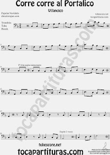 Partitura de para Trombón, Tuba Elicón y Bombardino Canción de Navidad Christmas Song Sheet Music for Trombone, Tube, Euphonium Music Scores