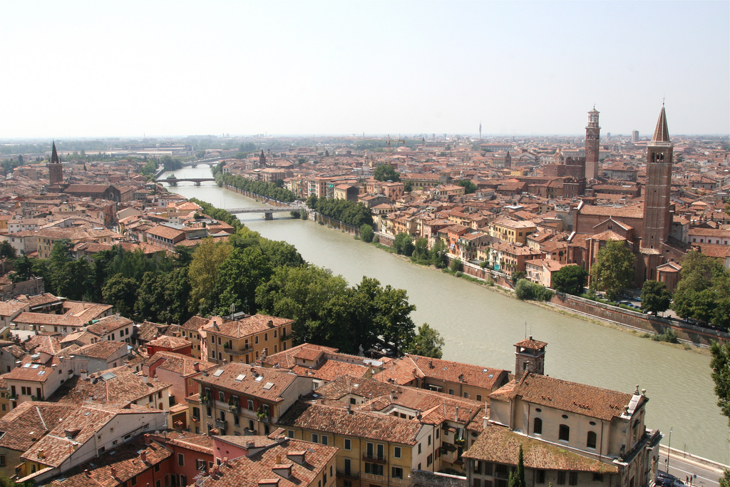 An aerial view of River Adige in Verona, Italy. Photo: Martha Jong-Lantink.