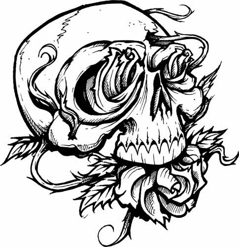 Skull and rose tattoo stencil