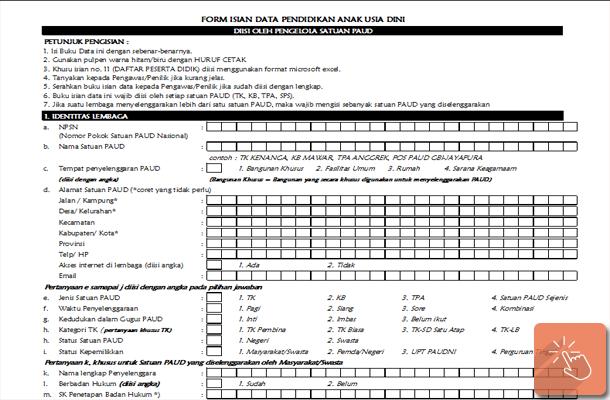 Formulir Isian Data Pendidikan Anak Usia Dini