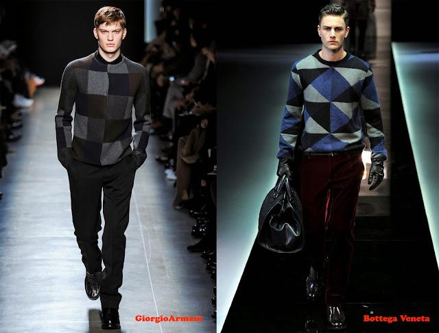 Tendencia otoño_invierno 2013-14 jersey con estampado geométrico: Giorgio Armani y Bottega Veneta