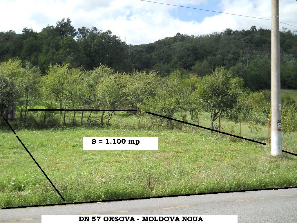 TEREN DE 1.100 mp  IN CONTINUARE DEASUPRA DE DN 57 ORSOVA – MOLDOVA NOUA