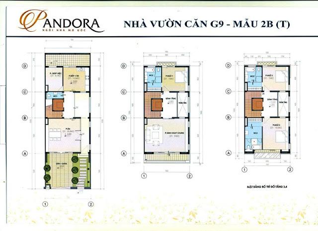 biệt thự pandora mẫu 2B tầng 1,2,3,4