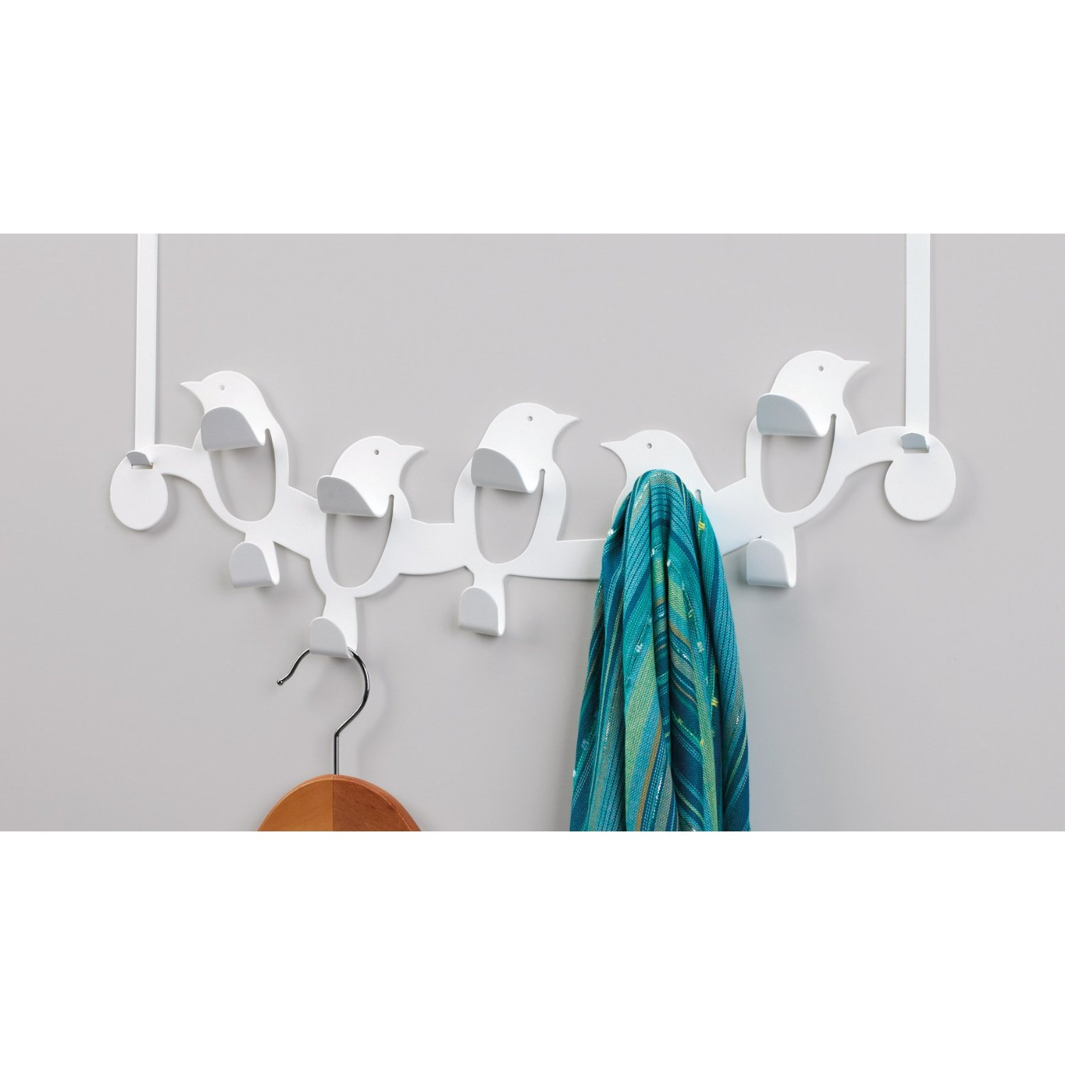 A Whimsical Over The Door Hook Solution   Umbra Birdseye Multi Hook ($25)  From Amazon.com.