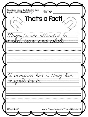 Fern Freebie Friday ~ Science: That's a Fact - Magnets By Teach123
