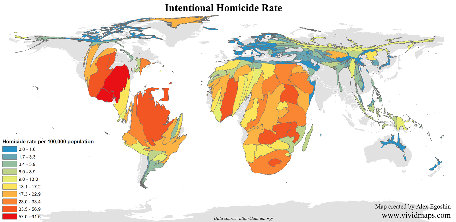 Cartogram: Intentional homicide rate