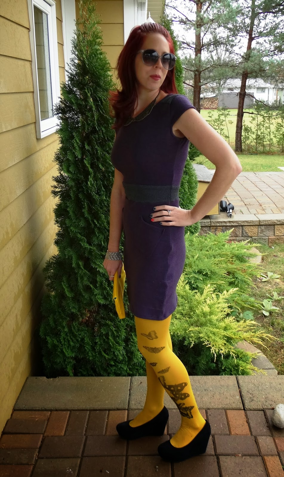 yellow butterfly Zohara tights with The Embellished Room purple dress, H&M Sunglasses and wedged heeled shoes, vintage clutch, Shop For Jayu collar necklace, toronto fashion and style colour blocking