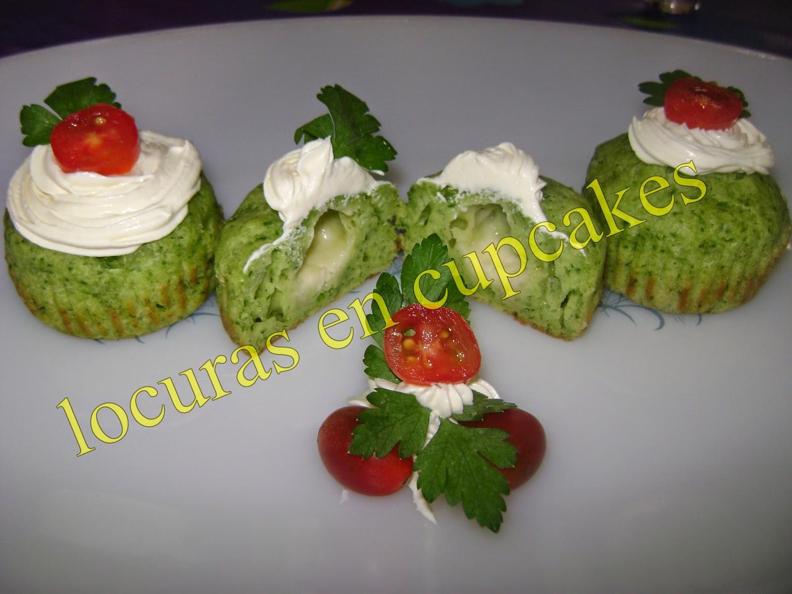 cupcakes salados de espinaca y queso