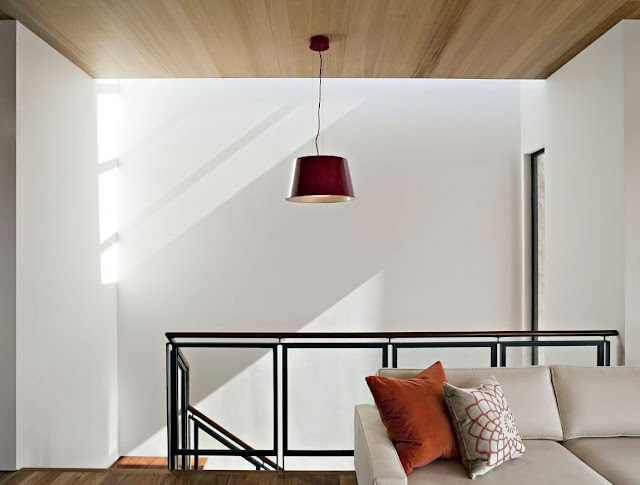 Red lamp above staircase