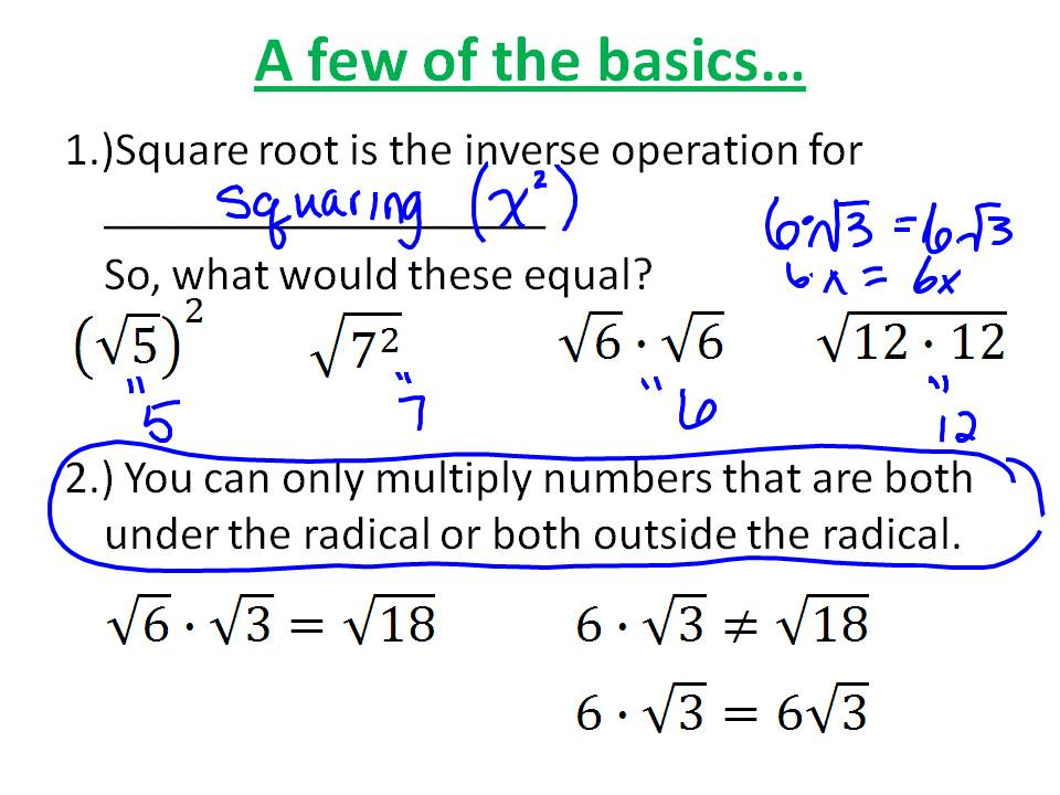Ms. Hale's Math Page: Algebra 5/4: Simplifying Radical Expressions