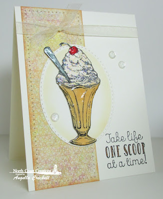 North Coast Creations Stamp set: Ice Cream,  Our Daily Bread Designs Blooming Garden Paper Collection, Our Daily Bread Designs Custom Dies: Stitched Ovals (Sneak Peek August 2015 Release)