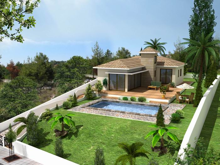 New home designs latest cyprus villas designs for Pool villa design