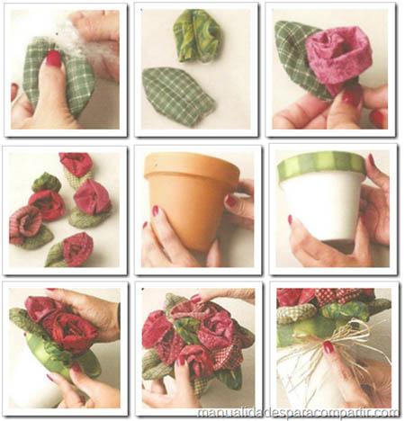 Como hacer flores de tela. Rosas de tela para decorar