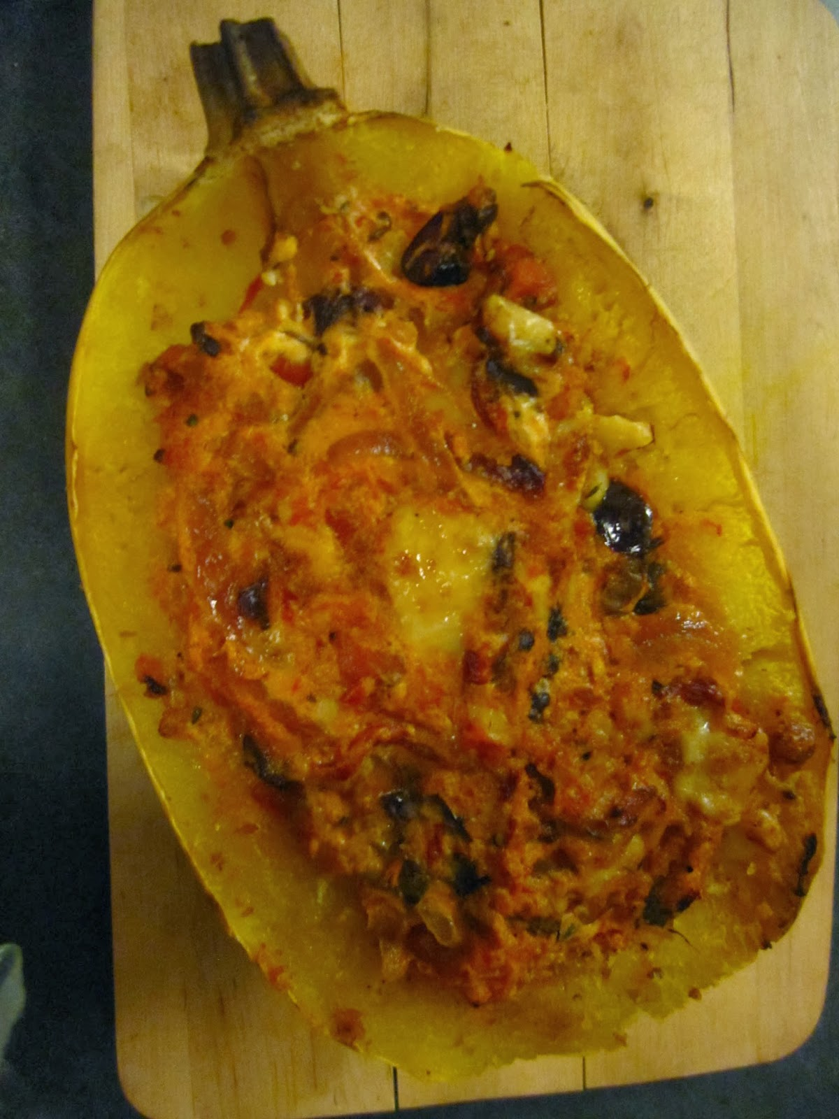 ... Spaghetti Squash (Part 2) with Roasted Peppers, Herbs, Olives and Goat