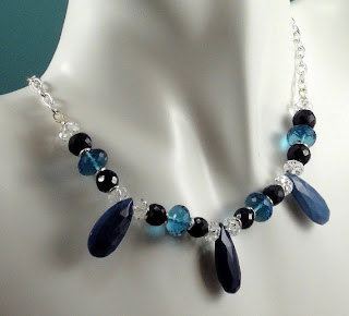 Designed by Val's Blue Opals, Sapphires, and London Blue Topaz Necklace