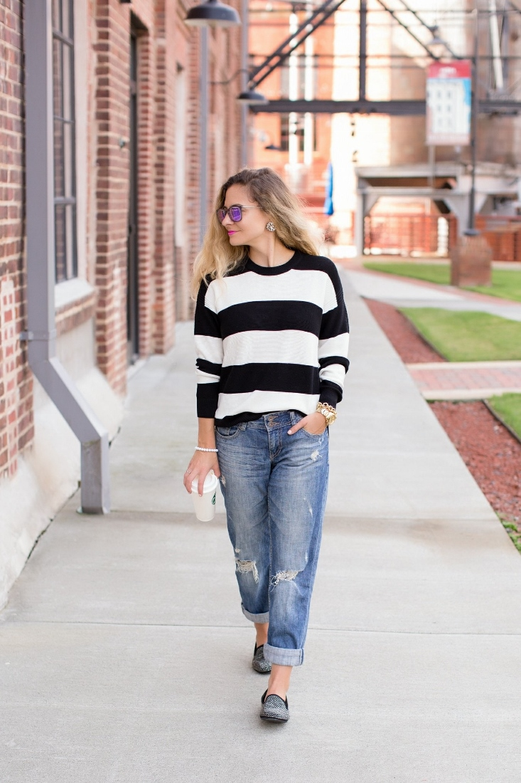 black and white striped soft sweater