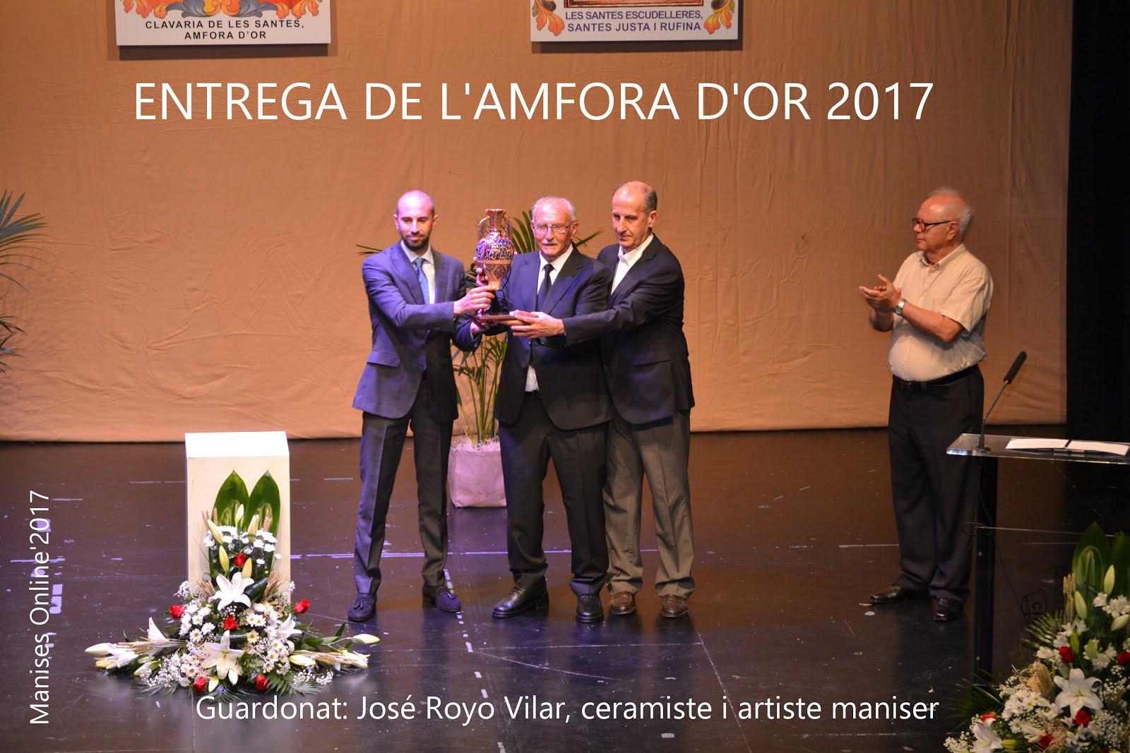 """12.07.17 HOMENAJE Y ENTREGA DE L'AMFORA D'OR A JOSÉ RO- YO VILAR """"EL MORENET"""""""