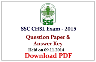 SSC CHSL 2014 Previous Question Paper with Answer Key (Held on 09.11.2014)