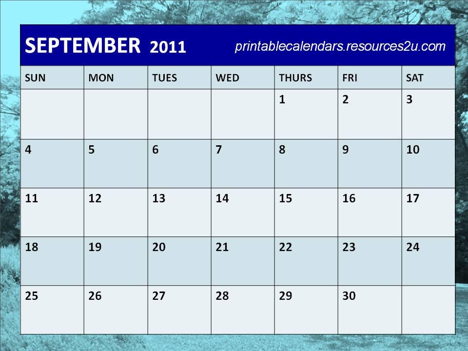 Printable Calendars 2014: Printable 2011 September Blank Calendar