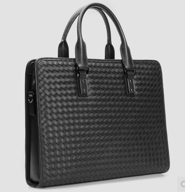 Amazing Woven Black Genuine Leather Square Briefcase