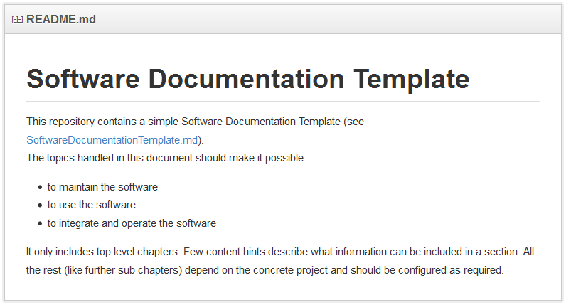 software documentation template