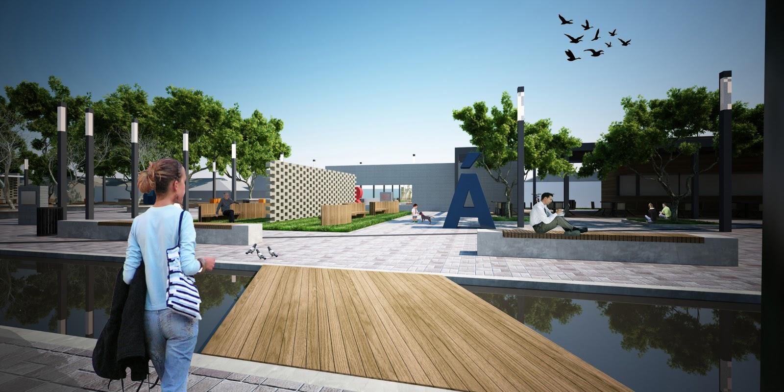 área da praça e a calçada serão pavimentadas com paver. Segundo  #30739B 1600x800 Banheiro Adaptado Arthur Lima