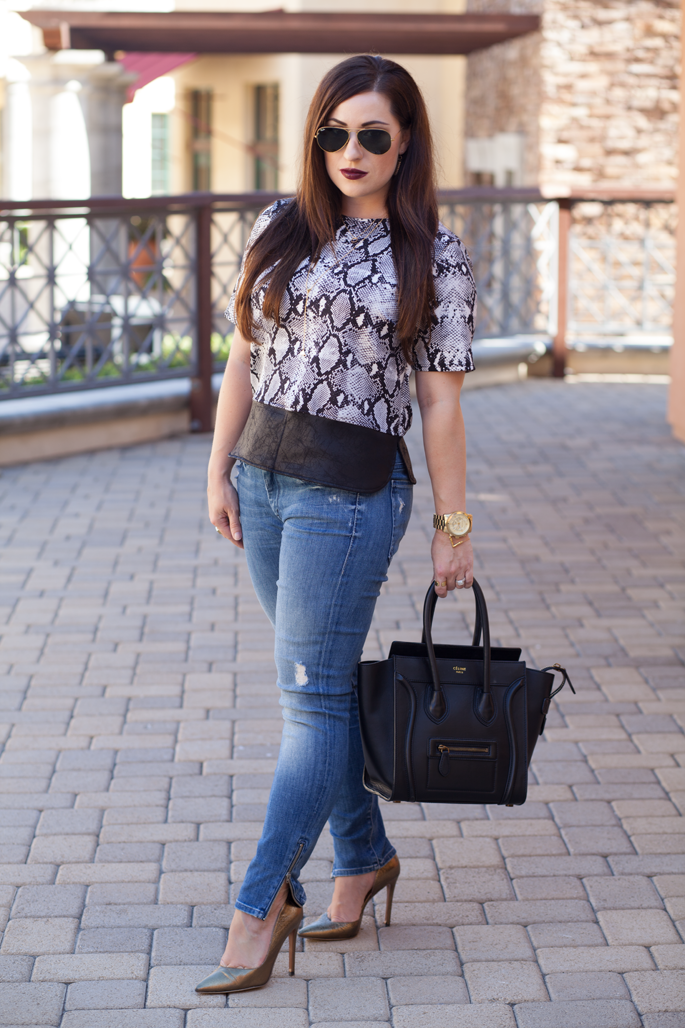gold ray ban sunglasses, black celine tote, mother the looker ankle zip jeans