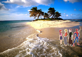 Spiderman Comic Super Hero Wallpapers Mary Jane and friends in Beautiful Island background
