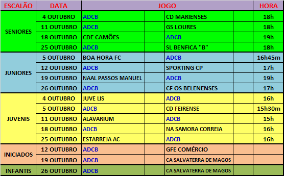 AGENDA - JOGOS OFICIAIS - OUTUBRO 2014