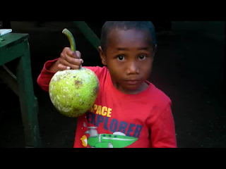 Fijian boy with breadfruit