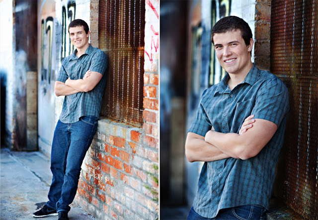 Male High School Senior poses for portraits downtown Tucson
