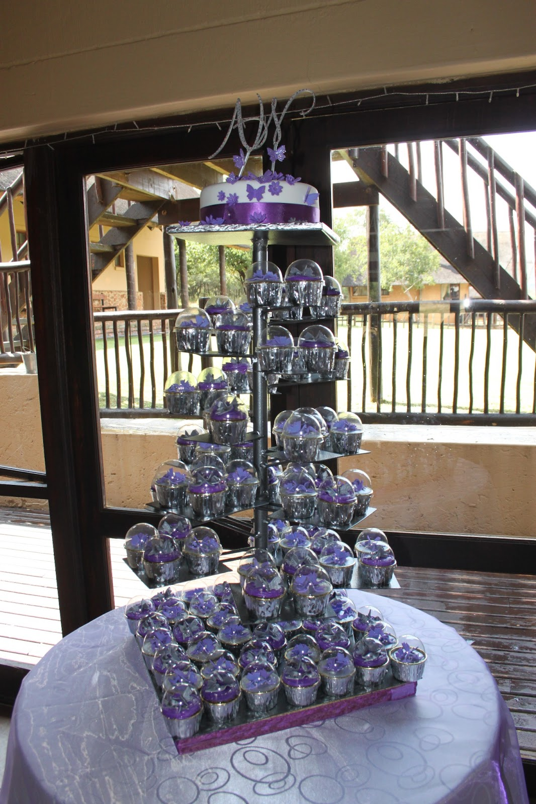 Happiness sweets & treats Purple & Silver wedding cake