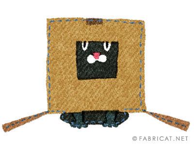 可愛い箱をかぶる黒 猫のイラスト