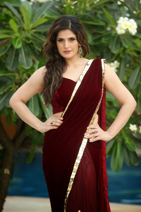 Actress Zarine Khan Stills in Red Saree