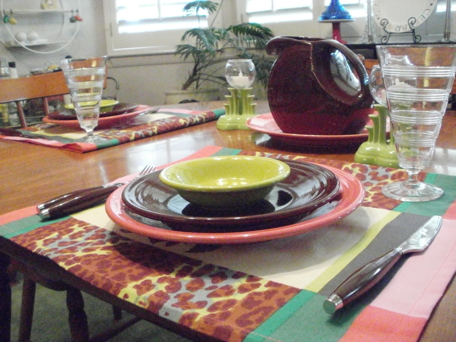 I Want Some Fiesta Heart Bowls To Go With This Next Table. I Found The Cloth  At My Favorite Thrift Shop. I Found Out That It Was Made In Austria.