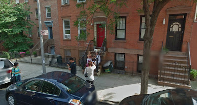 Google Street View of Cat Greenleaf interviewing a guest for Talk Stoop, 12 Wycoff St., Brooklyn