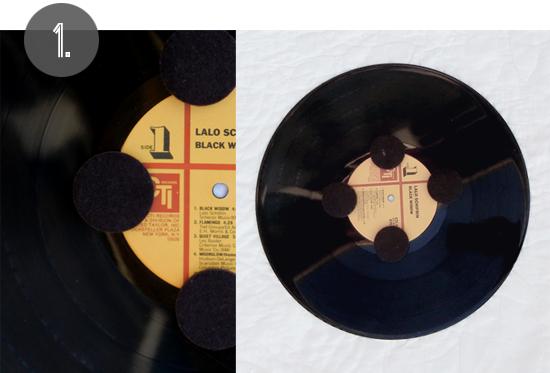 vinyl record dessert stand