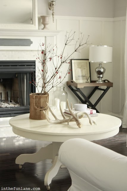 white antlers  white table vignette