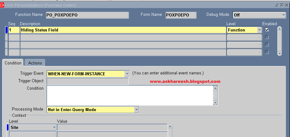Form Personalization: Hiding a field, askHareesh blog for Oracle Apps