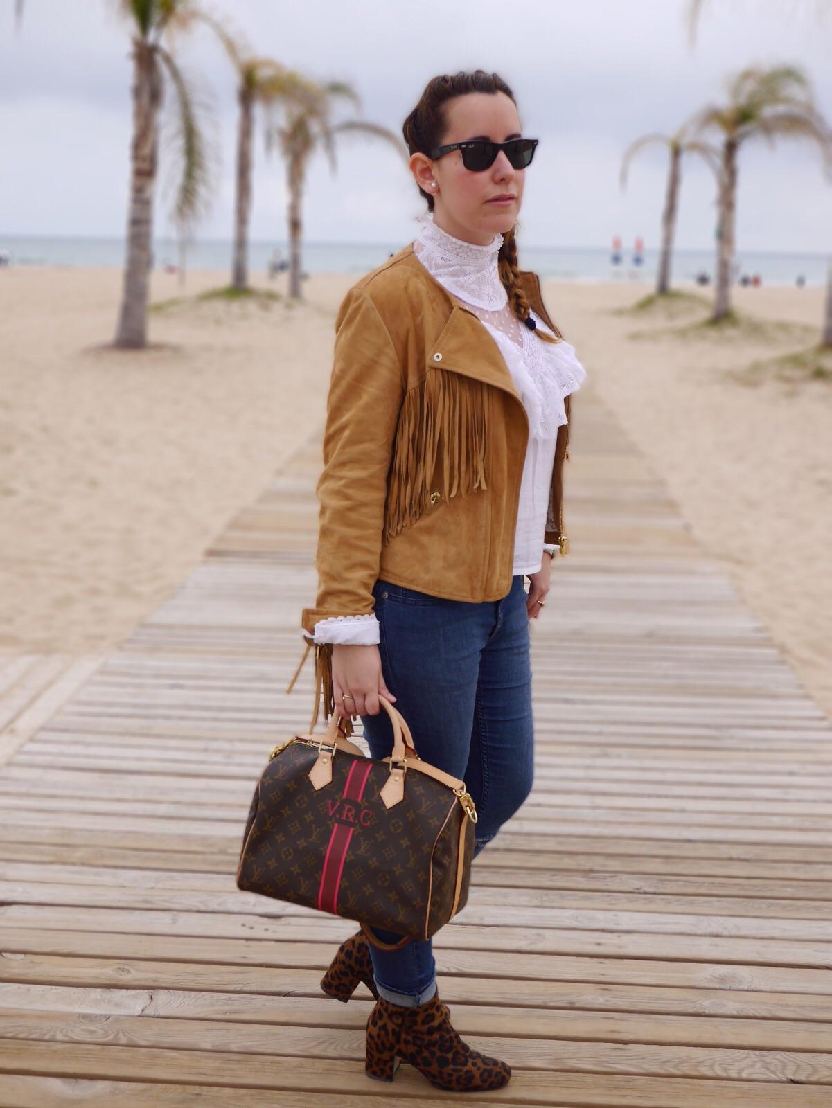 fashion blogger, suede fringe jacket, suede jacket, chaqueta ante, botines leopardo, vintage, louis vuitton