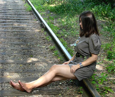 girl living doll on rails