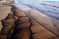Petróleo derramado no mar chegou à praia de Tramandaí, litoral norte do Rio Grande do Sul, em 2012. Foto: Blogue Os Verdes/RS